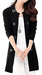 Cljj7 Women S Loose Open Front Mid Long Knit Cardigan Sweater Medium Black