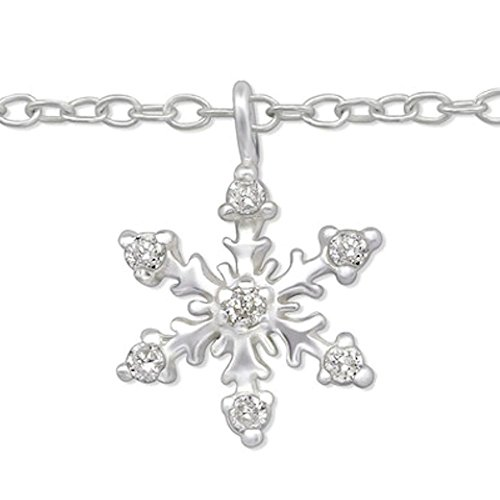 So Chic Jewels - 925 Sterling Silver Snowflake Anklet with Cubic Zirconia by So Chic Jewels (Image #3)