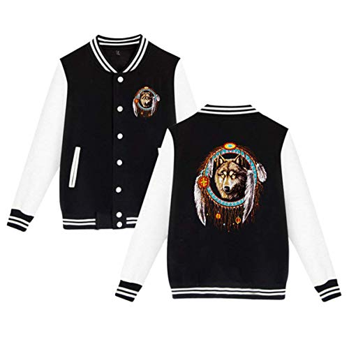 Agreementsly Unisex Wolf Dream Catcher Indian Native Sport Baseball Uniform Jacket Coat Sweater 4XL Black