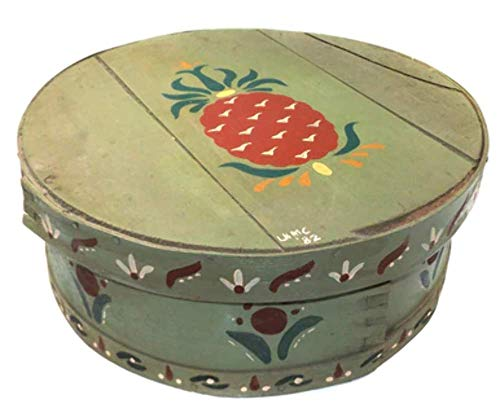 Vintage Round Wood Lidded Cheese Box w/Amish Style Folk Art Tole Painted Graphics ()