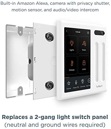 Brilliant Smart Home Control (2-Switch Panel) — Alexa Built-In & Compatible with Ring, Sonos, Hue, Kasa/TP-Link, Wemo, SmartThings, Apple HomeKit — In-Wall Touchscreen Control for Lights, Music & More 41aVq2uPaTL