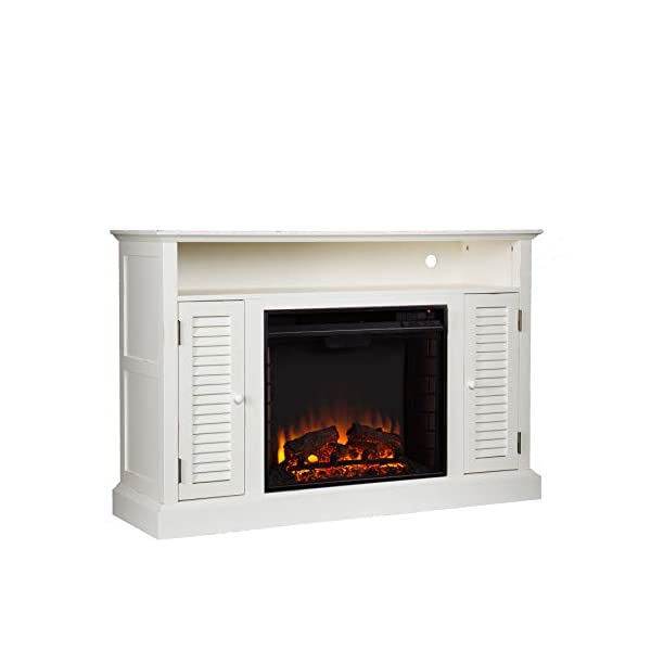 SEI Furniture Antebellum Media Console Electric Storage Fireplace, Antique White