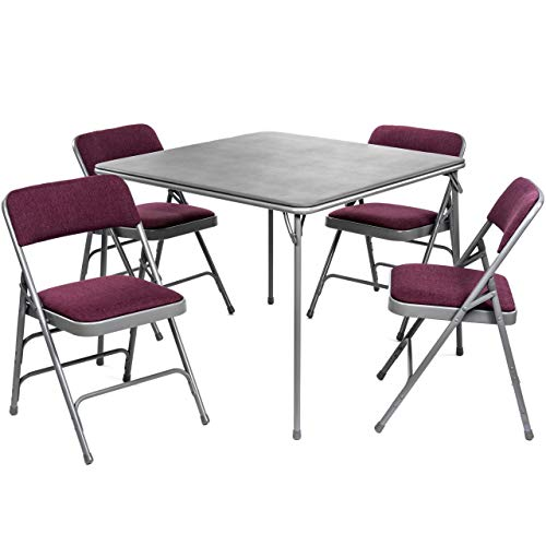 XL Series Folding Card Table and Fabric Padded Chair Set (5pc) - Comfortable Padded Upholstery - Fold Away Design, Quick Storage and Portability - Premium Quality (Burgundy/Grey)