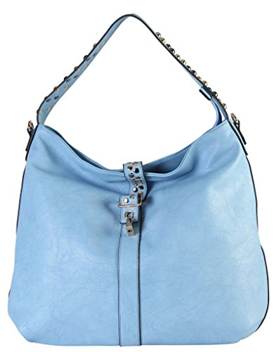 Accented Large Hobo Handbag - Diophy PU Leather Large Hobo Accented with Two Tone Studded Décor Womens Purse Handbag SD-3327