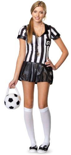 [Leg Avenue Junior's 3 Piece Junior Referee Costume, Black/White, Medium/Large] (Leg Avenue Womens Referee Costume)
