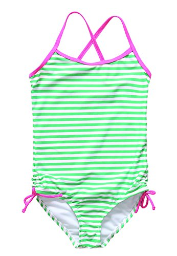 [ALove Big Girl's Stripes One Piece Swimsuit Swimwear Green 9-10] (Swimming Costume For Womens Online)