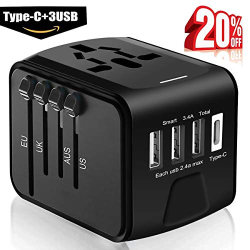 Travel Adapter - Whzld International Travel Power Adapter W/High Speed 2.4A USB, 3.0A Type-C Wall Charger, European Adapter Travel Power Adapter Wall Charger for UK, EU, AU, Asia Covers ()
