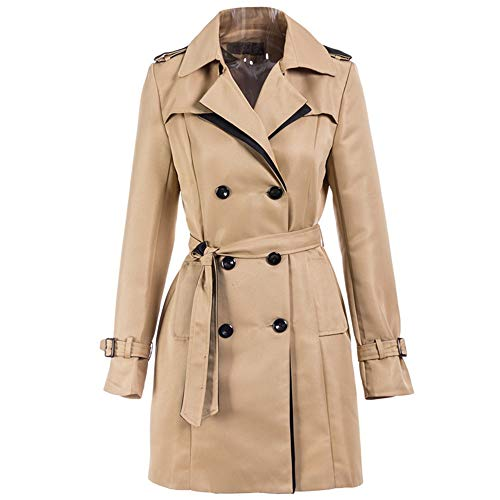 Mujeres Otoño Larga Damas Trench Regulares Vkreal Outwear Doble q61Uvft