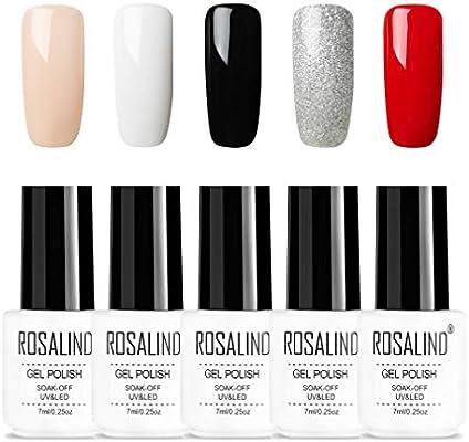 ROSALIND Pure Series Color Gel Esmalte de uñas Decoración artística Soak Off UV LED, 5pcs, 7ml (0102030710): Amazon.es: Belleza