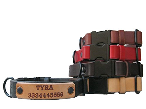 Quick Release Leather Dog Collar with Black Metal Hardware and Free ID Tag, 5 Leather Colors, Ideal for Large and Medium Dogs, Colorful Leather Dog Collar - Number 5 Leather