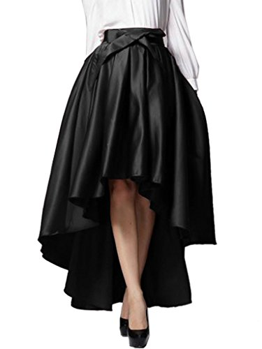 Choies Women's Black Bowknot High Waist Hi-lo Party Skater Skirt ()
