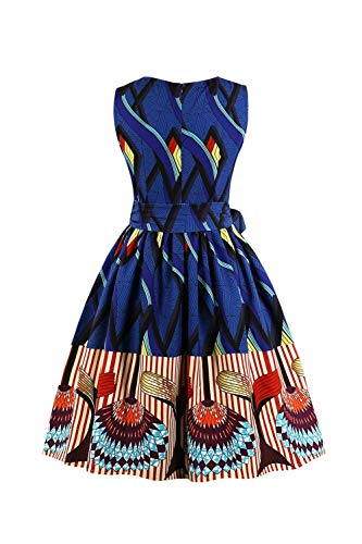 Xxl Cintura Retrò Sleeveless Cocktail Blu Floreale Scuro Dimensione Uk Party Summer Abito Yingsssq Dress Con colore cn 16 FqTfzHwW