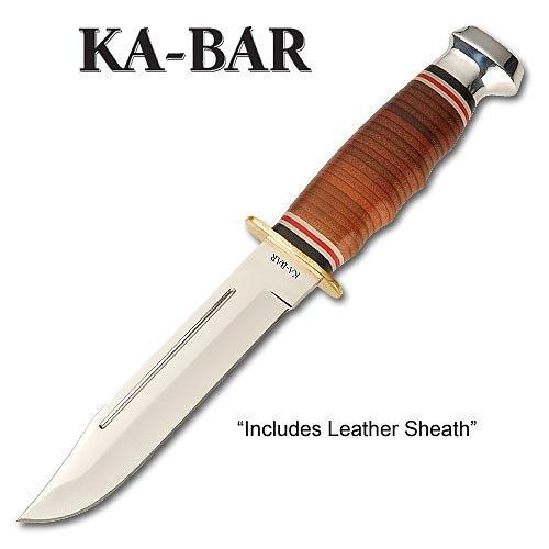 Ka-Bar Leather Handled Marine Hunter Knife