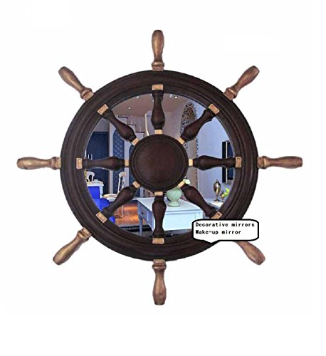 Helmsman Hanging (European-Style Mediterranean-Style Circular Mirror 70cm 70cm Home Bar Decoration Mirror Helmsman Hand-Made Nautical Decoration Hanging On The Wall (-195))