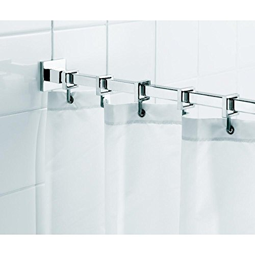 - Croydex AD116441AZ Luxury Contemporary Aluminum Square Shower Rod Rail with Curtain Hooks, 98