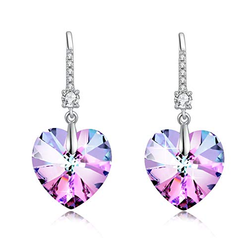 Etanoluv Woman Heart Drop Dangle Earrings with Crystal from Swarovski Christmas Gift Birthstone Fashion Jewelry Purple