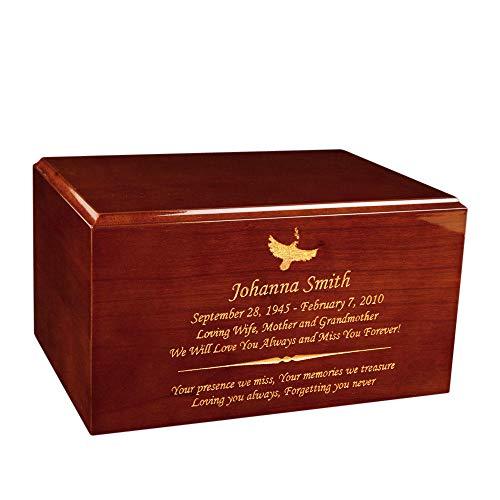 Perfect Memorials Custom Engraved Large Timeless Honey Oak Cremation - Cremation Oak Urn Wood