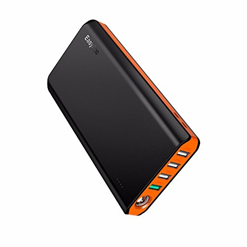 EasyAcc 20000mAh Power Bank QC 3.0 Quick Charge Portable Battery Bank with Dual USB Inputs and Four Outputs, Flashlight for Smartphones, Nintendo Switch and More - Black & Orange (Charger Access Easy)