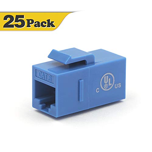 ([UL Listed] VCE 25-Pack CAT6 Keystone Coupler,RJ45 Female to Female Insert Coupler, UTP Keystone Inline Coupler-Blue)