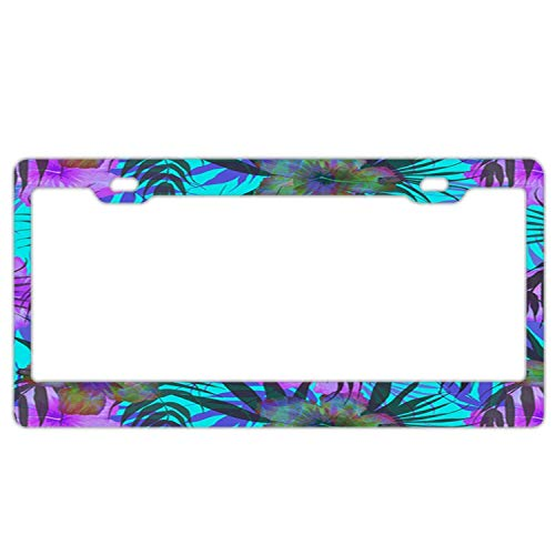 YEX Abstract Purple Hibiscus License Plate Frame Novelty Car Tag Frame Auto License Plate Holder 12