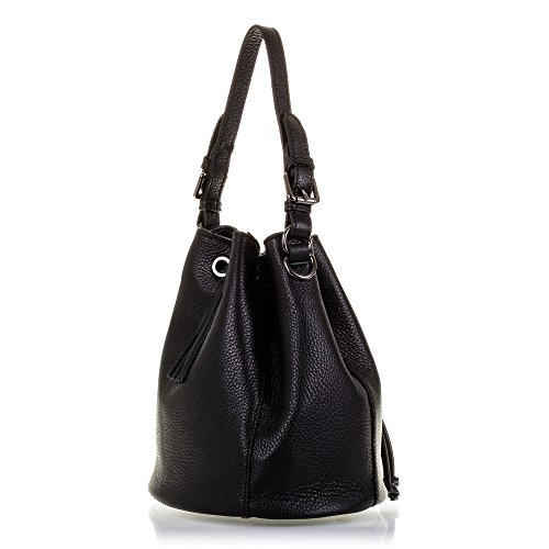 Firenze bolso Leather Genuino Skin Black Artegiani Black Woman Negro Color Mujer Con Cierre Color Negro Genuine 25x25x25 25x25x25 Shoulder Cm bolso bolso Cm Artegiani Vera Italian Pelle Acabado Skin Dollaro Italiana Vera Pelle Hombro bolso Dollaro Italy In Made Auténtica Woman Firenze Italy Finish De In Cuero De Made Drawstring Closure Mujer Piel Cordón Leather Piel De Auténtica Piel rwqgrxYP1