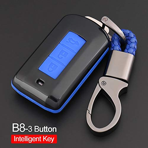Car Key Chain 3 Button for Mitsubishi Lancer EVO/ASX/Pajero/Eclipse/Zinger/Montero Sport Key Ring Case Cover Holder Car Styling Color Name B8 Black3 Blue
