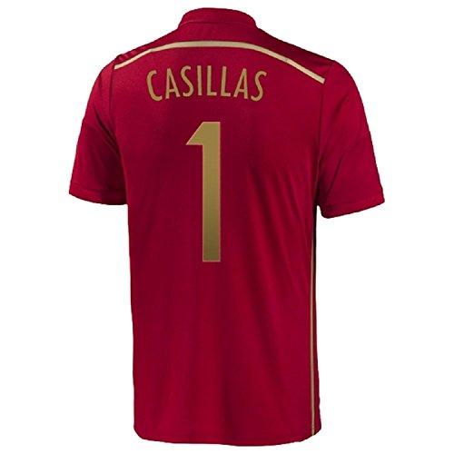 滝個人的な円形Adidas Casillas #1 Spain Home Jersey World Cup 2014/サッカーユニフォーム スペイン ホーム用 ワールドカップ2014 背番号1 カシージャス