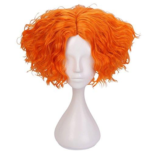 Cfalaicos Short Orange Curly Cosplay Wig with Free Wig Cap