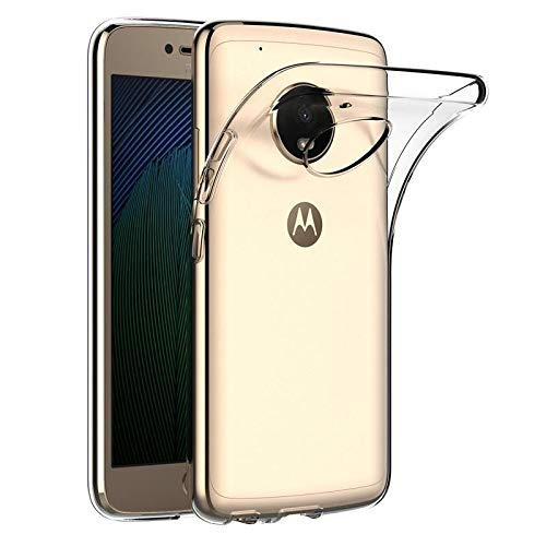 ADRY Soft TPU Rubber Gel Transparent Back Cover for Motorola Moto G5 Plus  Clear