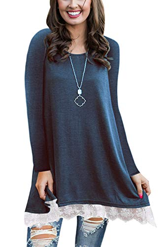 WEKILI Women's Tops Long Sleeve Lace Scoop Neck A-line Tunic Blouse Blue XL/US 16-18