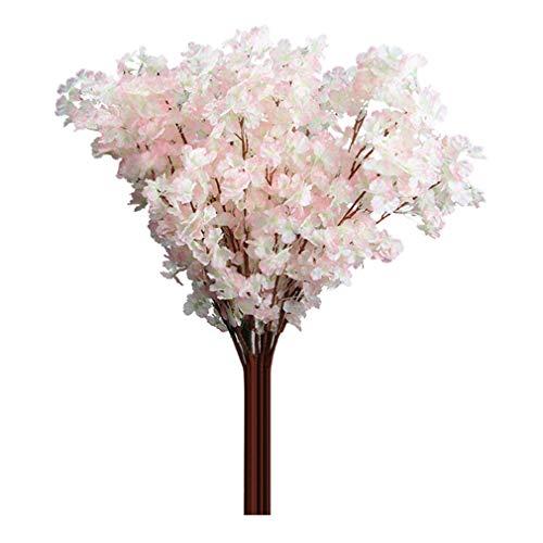 (SoundsBeauty 1 Bouquet 3 Branches Cherry Blossom Silk Artificial Flowers Home Wedding Decor - Light Pink)