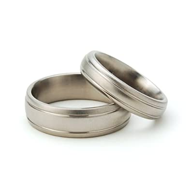 Amazon Com Titanium Rings For Him And Her Matching Wedding Rings
