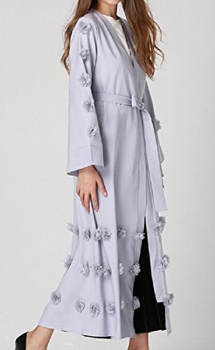 Cardigan Abaya Coolred Design Strappy Floral Smoky Dresses Gray Women Muslim HvHwxBqt6