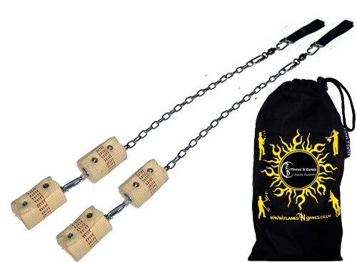 Pro Feuer Poi (4x 65mm Docht - XL Flammen) Flames N Games Fire Poi +Reisetasche. Swinging Poi, Spinning Pois und Feuer Jonglieren für Anfänger und Profis.