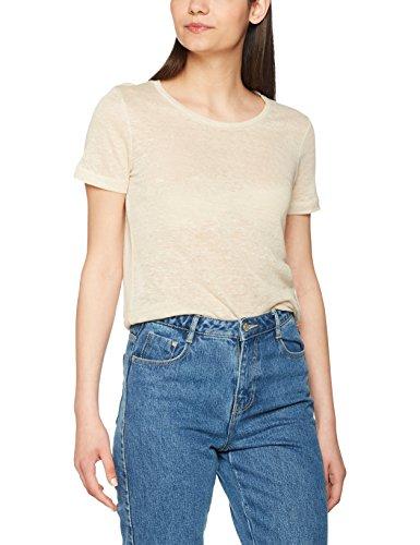 VERO MODA Vmreza S/S Linen Top A, T-Shirt Femme, Ecru (Oatmeal), 40 (Taille Fabricant: Large)