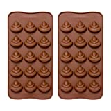 Emoji Poop Silicone Mold - Comkit 15-Cavity Cute Funny Emoji Poop Emotion Baking Maker Molds Tray for Cake Decorations, Chocolate/Candy/Fondant/Gummy/Ice Cube Making