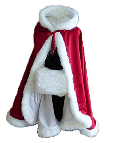 Women's Winter Cloak Hooded Faux Fur Edge Short Bridal Christmas Wraps Red -
