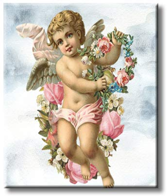 A Blond Cherub Cupid Angel Holding Flowers with Clouds Picture on Stretched Canvas, Wall Art Décor, Ready to Hang
