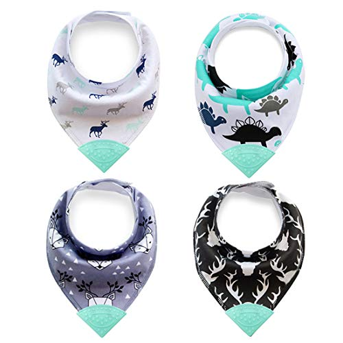 - Baby Bandana Bibs, Teething Bibs with Attached BPA-Free Silicone Teether - 100% Organic Cotton (B#)