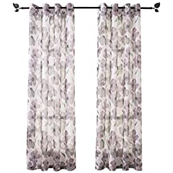 "Floral Print Curtain Panel, Faux Linen Grommet Top Window Drapes Room Décor Contemporary Watercolor Petal Printed Curtain Drapes Perfect for Living Room and Bedroom, 54"" Wide x63"" Long Set of 2 Purple"