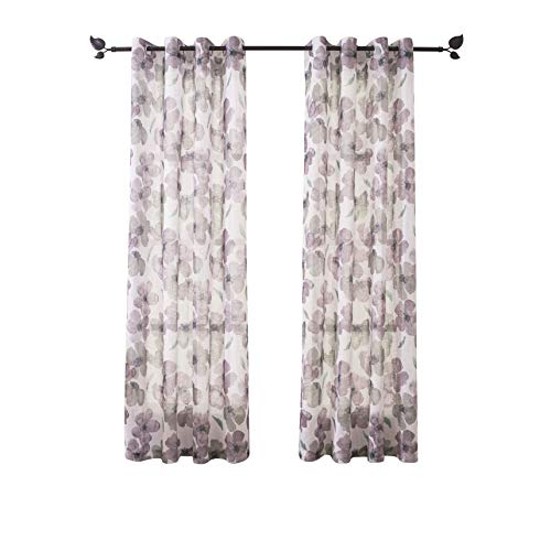"""Floral Print Curtain Panel, Faux Linen Grommet Top Window Drapes Room Décor Contemporary Watercolor Petal Printed Curtain Drapes Perfect for Living Room and Bedroom, 54"""" Wide x63"""" Long Set of - Curtain Floral Contemporary"""