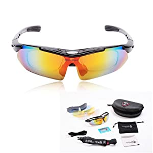 WOLFBIKE POLARIZE Sports Cycling Sunglasses with 5 Set Interchangeable Lenses Black Frame