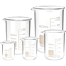 Ackers Science 3.3 Borosilicate Glass Low Form Scientific Glass Beaker, 50/100/250/500/1000 mL (Pack of 5)