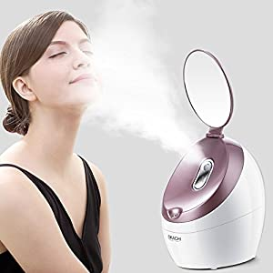 OKACHI GLIYA Facial Steamer Nano Ionic Hot Steam For Face Personal Sauna SPA Quality Moisturizing Face Sprayer Open Pores Blackheads Reomoval Clear Mini Home Humidifier with Makeup Mirror- Rose Gold