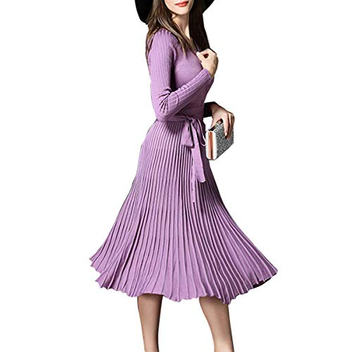 - Winter Dress Womens Spring Sexy V-Neck Long Sleeve Wrap Dresses Elegant Belted Midi Solid Knit Sweater with Ruffle Light Purple