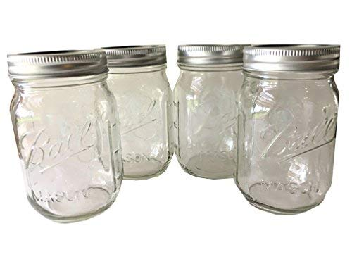 Ball Mason Jar-16 oz. Clear Glass Heritage Series - Set of 4 ()