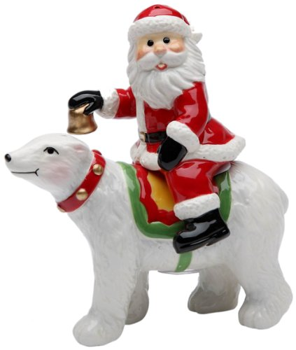 (Cosmos Gifts 10662 Santa Riding Polar Bear Salt and Pepper Set, 4-3/4-Inch)