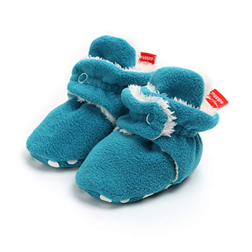 Save Beautiful Newborn Infant Baby Girls Boys Slippers Warm Fleece Boots First Walkers Shoes (6-12 Months, (Blue Fleece Winter Boots)
