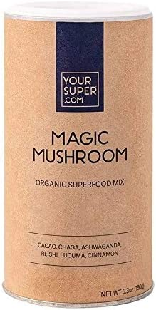 Your Super Magic Mushroom Superfood Mix – Plant Based Immunity Booster, Mood Enhancer, Stress Management Essential Vitamins, Ashwagandha, Reishi, Non-GMO, Organic Ingredients – 5.3 Ounces, 30 Servings
