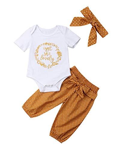 Newborn Baby Girls Floral Heart Peach Print Romper Long Pants with Bowknot Headband Outfit Set (0-3 Months, White) (Stuff Garden Cute)
